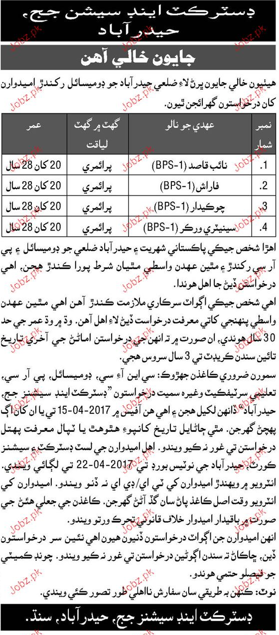Drivers, Naib Qasid, Farash, Chawkidars Job Opportunity