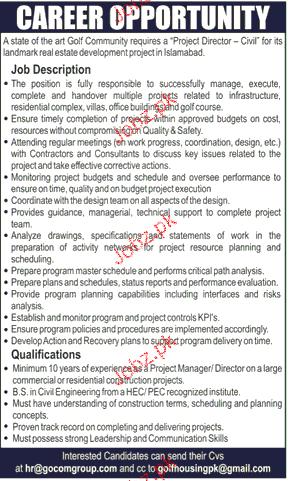 Project Directors Job Opportunity