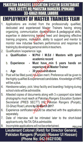 Master Trainers Job in Pakistan Rangers