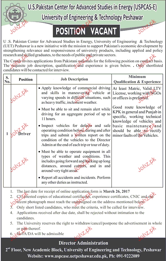 Drivers Job in University of Engineering and Technology
