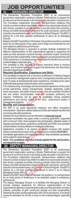 Managing Director, Deputy Managing Director Wanted