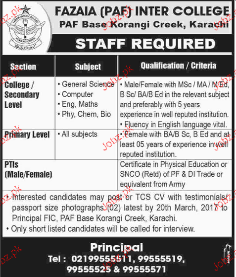 Teachers Job in Fazaia Inter College