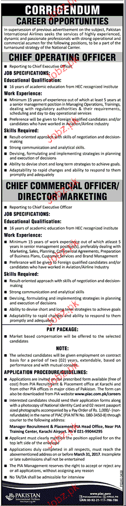 Chief Commercial Officers Job in PIA