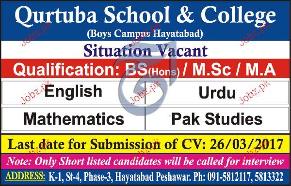 Teachers Job in Qurtuba School & College