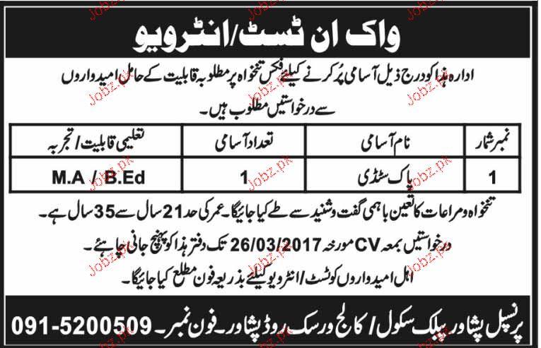 Teachers Job in Peshawar Public School / College