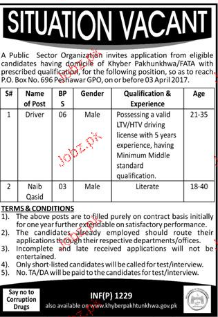 Drivers  and Naib Qasid Job in Public Sector