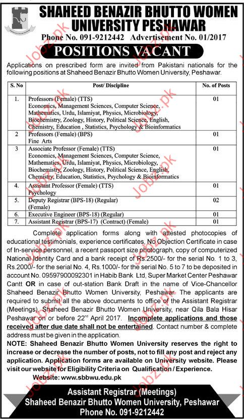 Professors, Deputy Regitarar, Executive Engineer Required