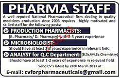 Microbiologists, Production Pharmacists Job Opportunity