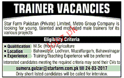 Trainers Job Opportunity