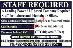 Office Coordination and Sales Executives Job Opportunity