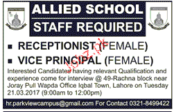 Receptionists and Vice Principal Job Opportunity