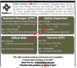Assistant Manager, Safety Supervisors Job Opportunity