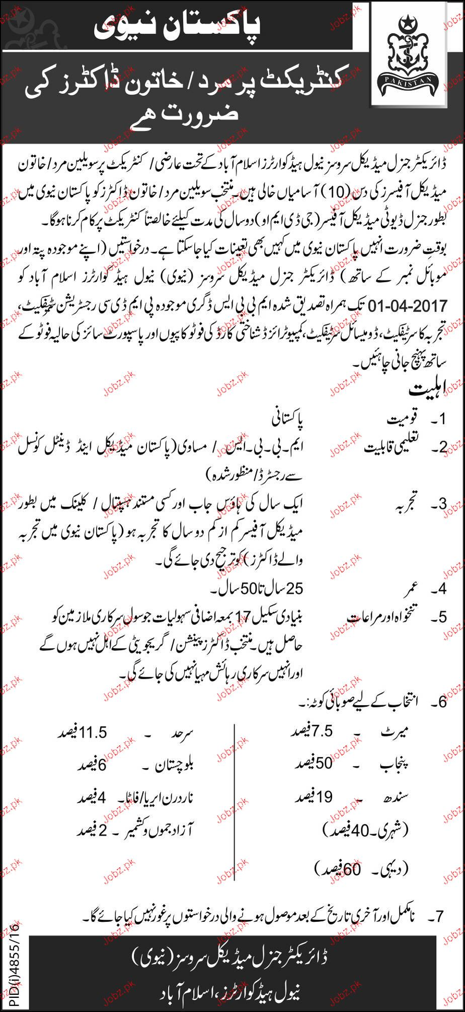 Medical Officers Job in Pakistan Navy