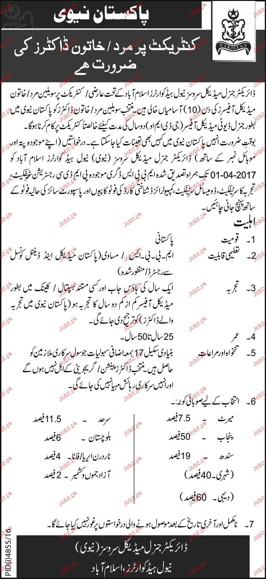 Medical Officers Job in Pakistan Navy