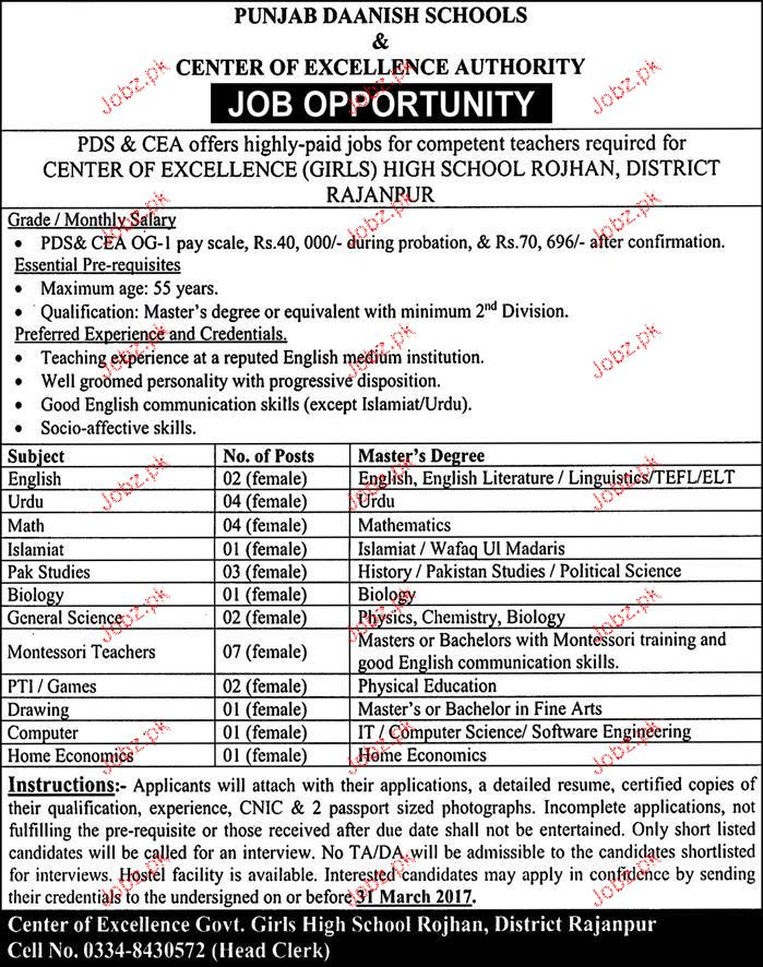 Teachers Job in Punjab Daanish School
