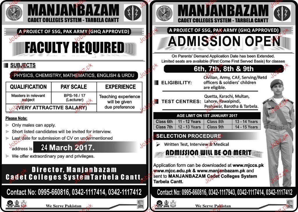 Teachers Job Manjanbazam Cadet College System