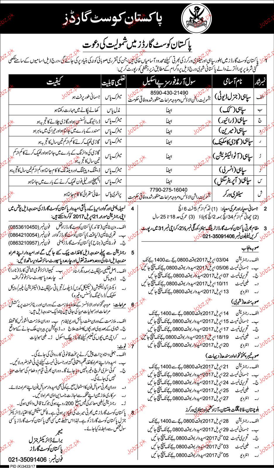 Recruitment of General Seopy in Pakistan Coast Guards