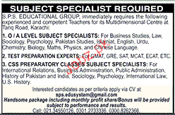 Subject Specialists Job Opportunity