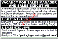 Sales Manager and Sales Executives Job Opportunity