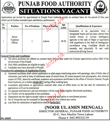 Senior Vigilance Officers Job in Punjab Food Authority