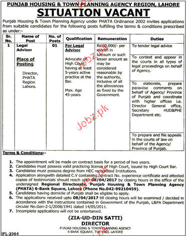 Legal Advisers Job in Punjab Housing & Town Planning