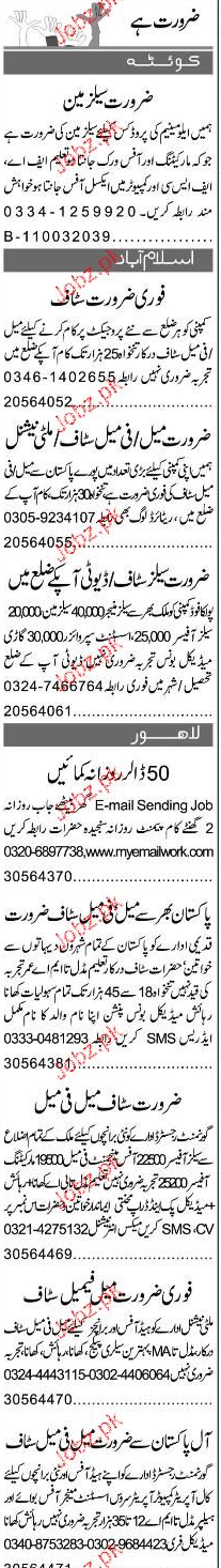 Assistants, Salesmen, Sales Supervisors Job Opportunity
