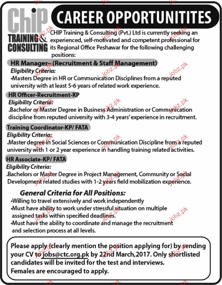 HR Manager, HR Officers and Training Coordinator Wanted