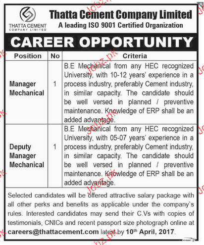 Manager Mechanical and Deputy Manager Mechanical Wanted