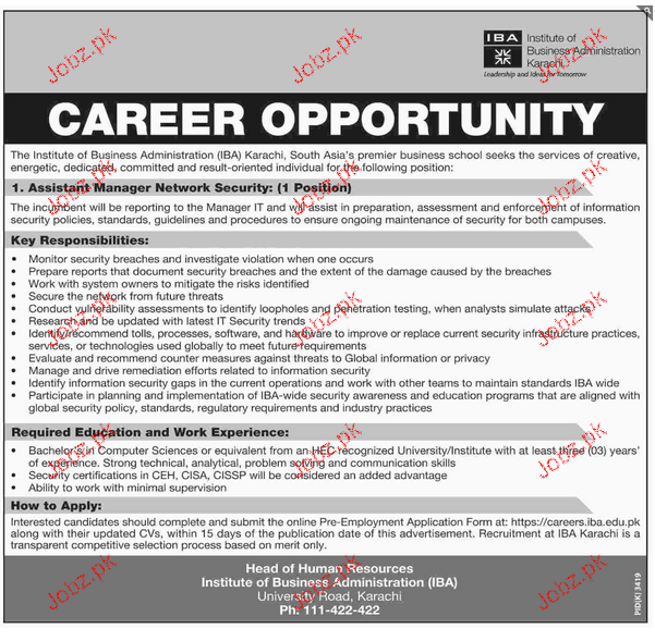 Assistant Manager Network & Security Job Opportunity