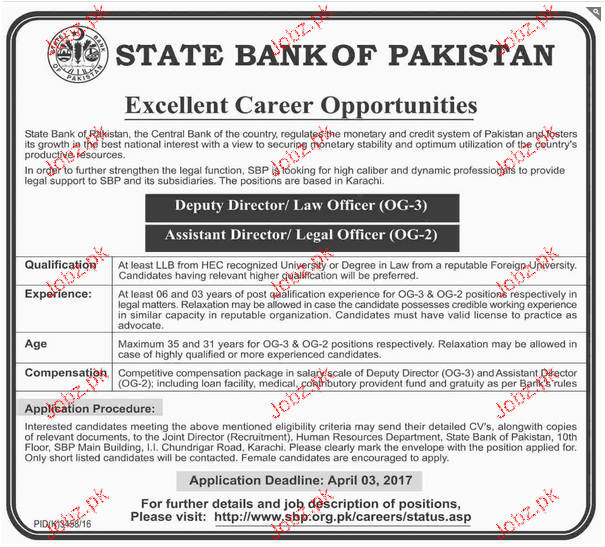 Deputy Directors and Assistant Directors Job SBP