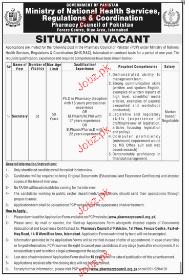 Secretary  Job in Ministry of National Health Services