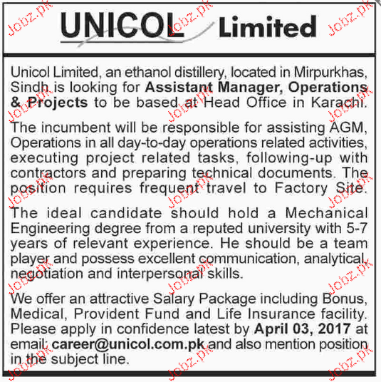 Assistant Manager Operations & Projects Job Opportunity