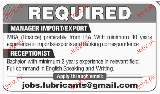 Manager Imports and Receptionists Job Opportunity