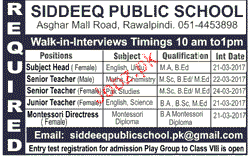 Subject Head, Senior Teachers Job Opportunity