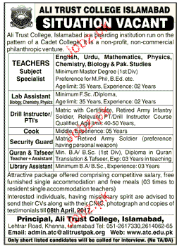 Teachers, Lab Assistants, Drill Instructor Job Opportunity