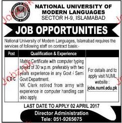 LDC Job in National University of Modern Languages