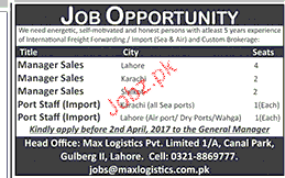 Manager Sales and Port Staff Job Opportunity