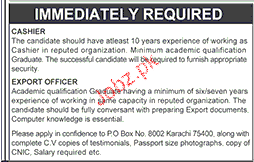 Cashiers and Export Officers Job Opportunity
