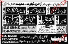 Electricians, Plumbers, Charge Hand Electrical Wanted