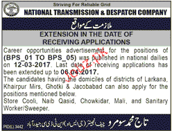 Male / Female Staff Job in National Transmission & Despatch