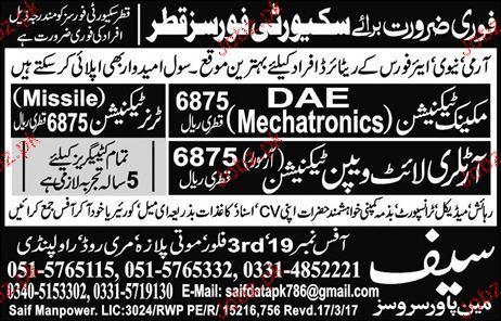 Mechanic Technicians, Truner Technicians Job Opportunity