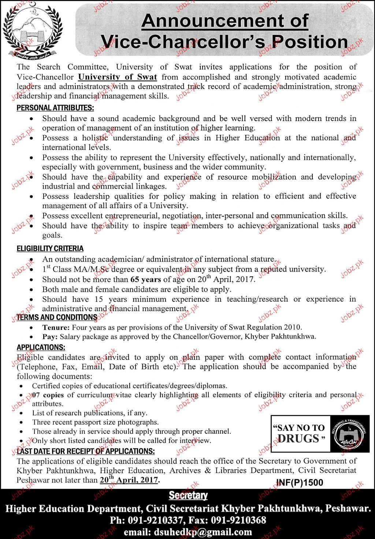 Vice Chancellor Job In University Of Swat 2018 Jobs Pakistan