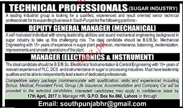 Deputy General Manager and Manager Instrument Wanted