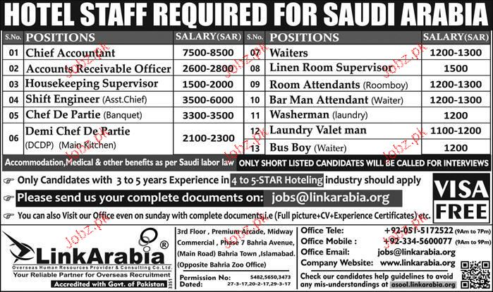 Chief Accountant, Housekeeping Supervisor Job Opportunity