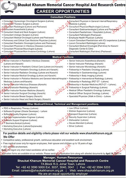 Consultants Job in Shaukhat Khanum Memorial Cancer