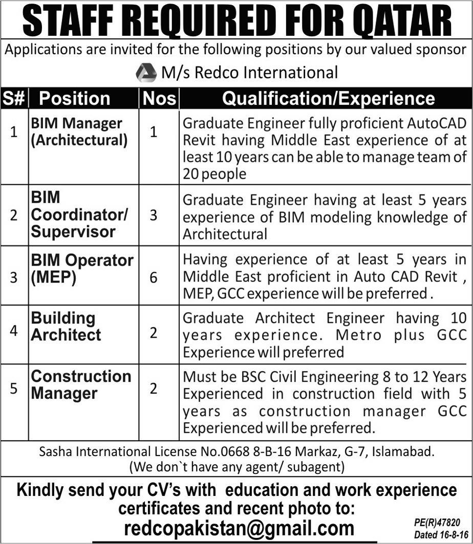 bim manager  bim coordinators  managers job opportunity 2019 job advertisement pakistan
