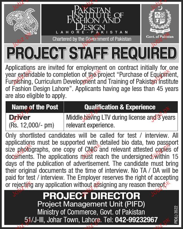 Drivers Job In Pakistan Institute Of Fashion And Design 2020 Job Advertisement Pakistan