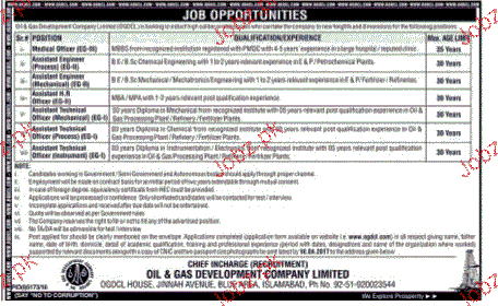 Medical Officers and Assistant Engineers Job in OGDCL