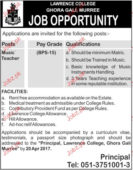 Music Teachers Job in Lawerance College