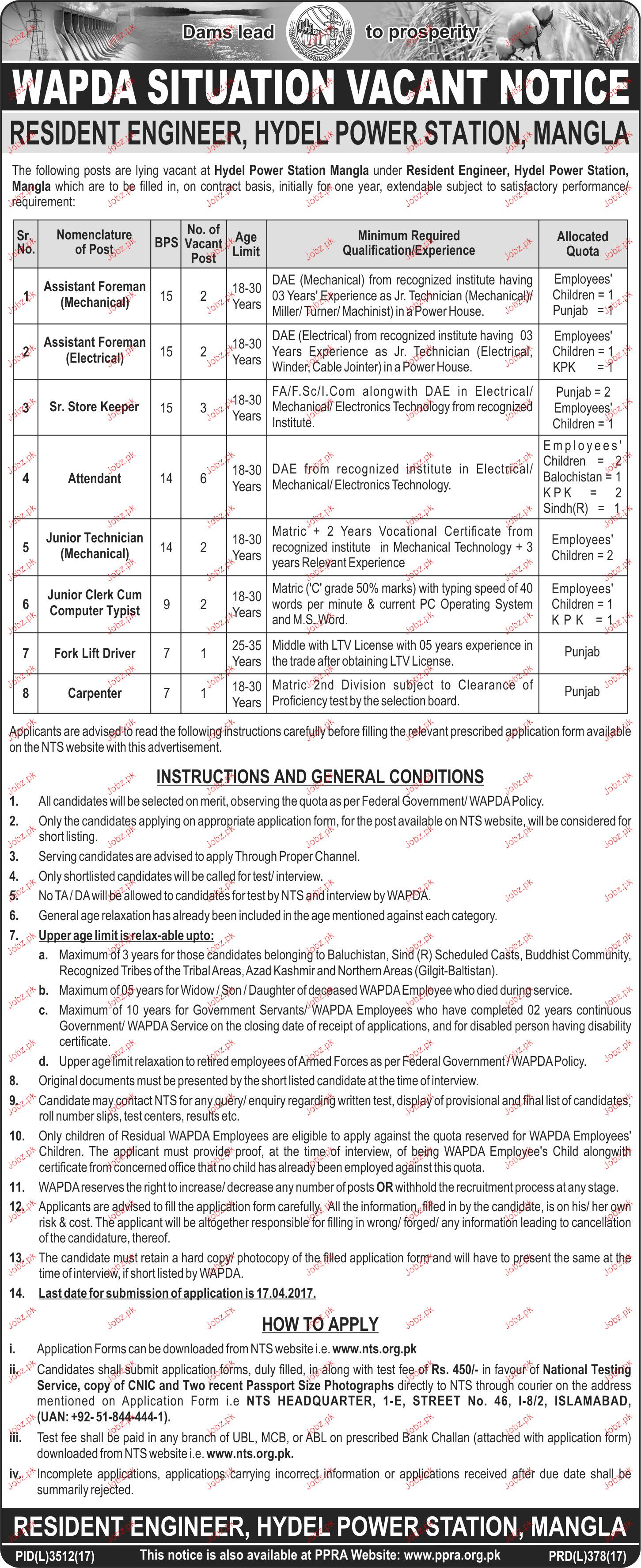 Assistant Foreman, Senior Store Keepers Job in WAPDA